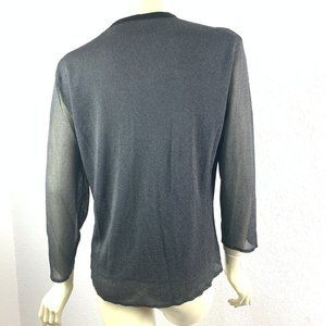 MAG Tops - M.A.G. Size L Button Front Black Semi-Sheer Blouse